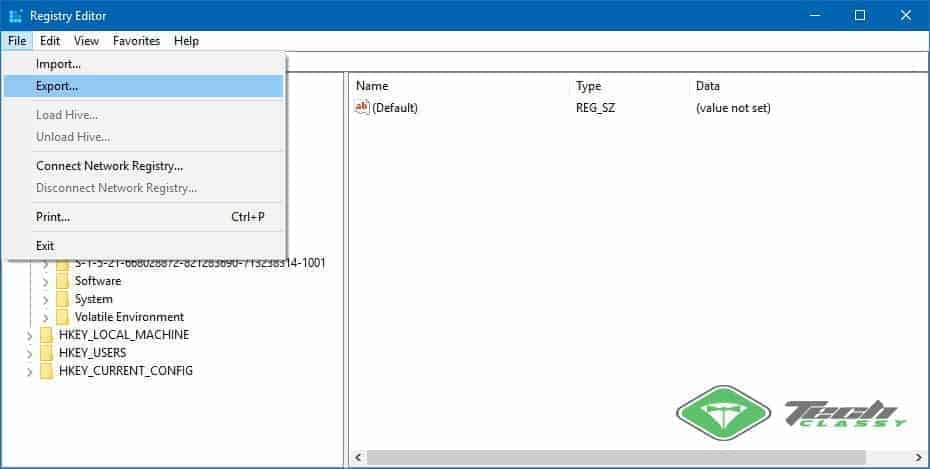 Creating Backup of Windows Registry
