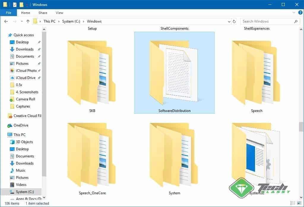 Software Distribution Folder Screenshot on Windows 10