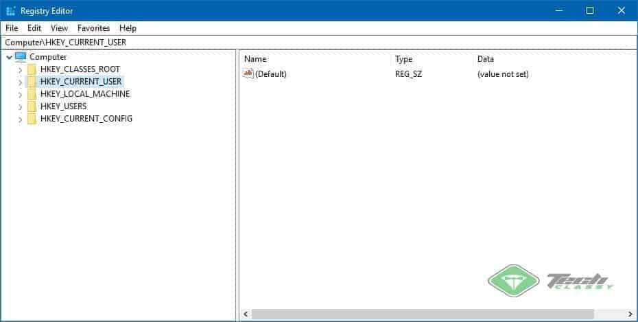 Windows Registry Screenshot