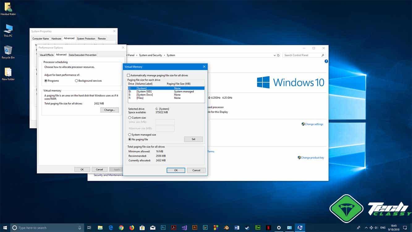 Modify Pagefile Windows 10