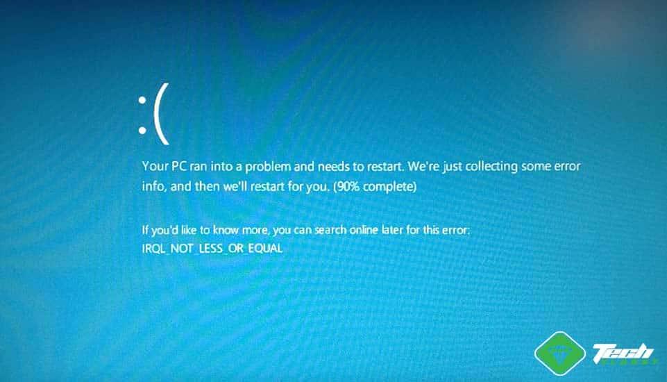 Screenshot: DRIVER IRQL NOT LESS OR EQUAL on Windows 10