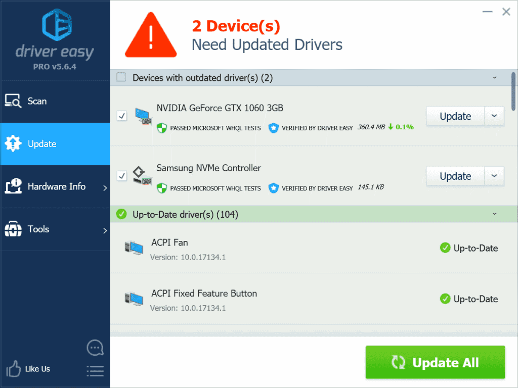 Outdated drivers detected in Driver Easy