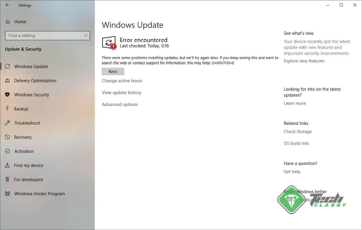 Screenshot Windows 10 Update Error 0x800705b4