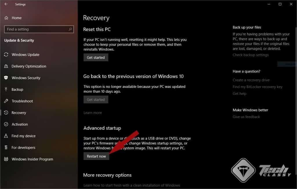 Advanced Startup in Recovery Windows 10