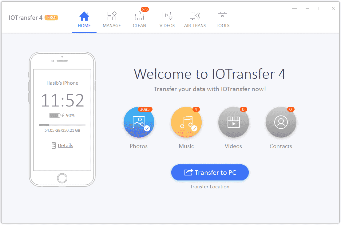 IOTransfer Home Interface