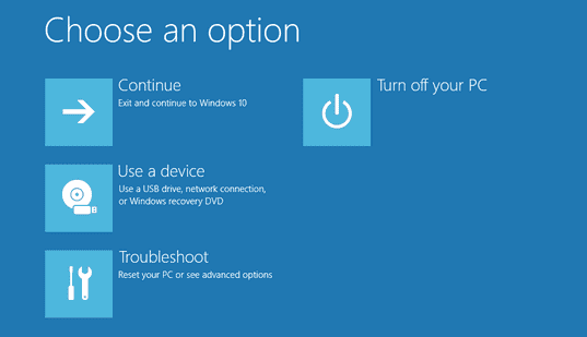 windows recovery mode screenshot