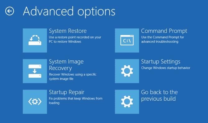 windows recovery mode Advanced Options