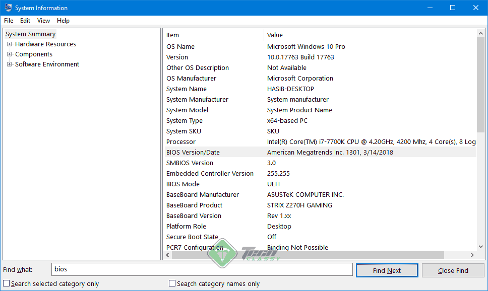 System Information Window
