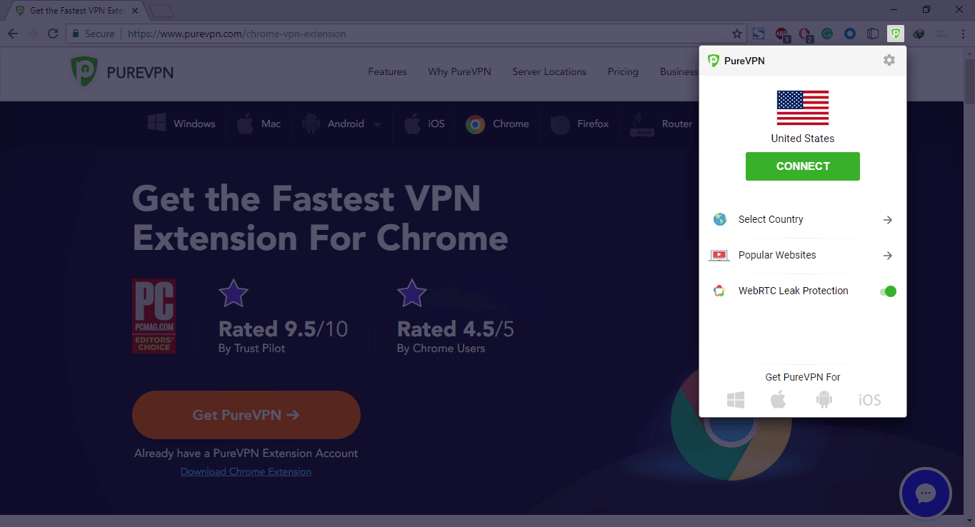 PureVPN Chrome Extension