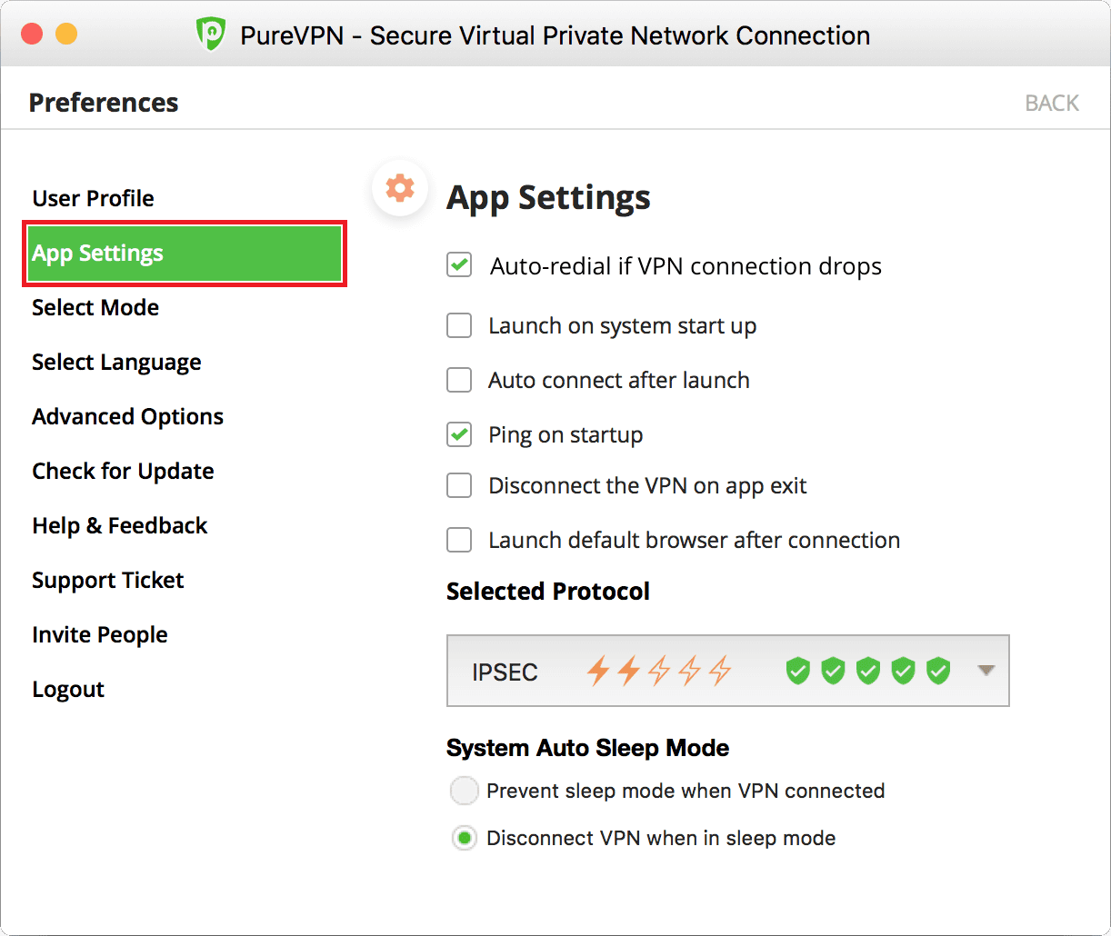 PureVPN Mac App Settings