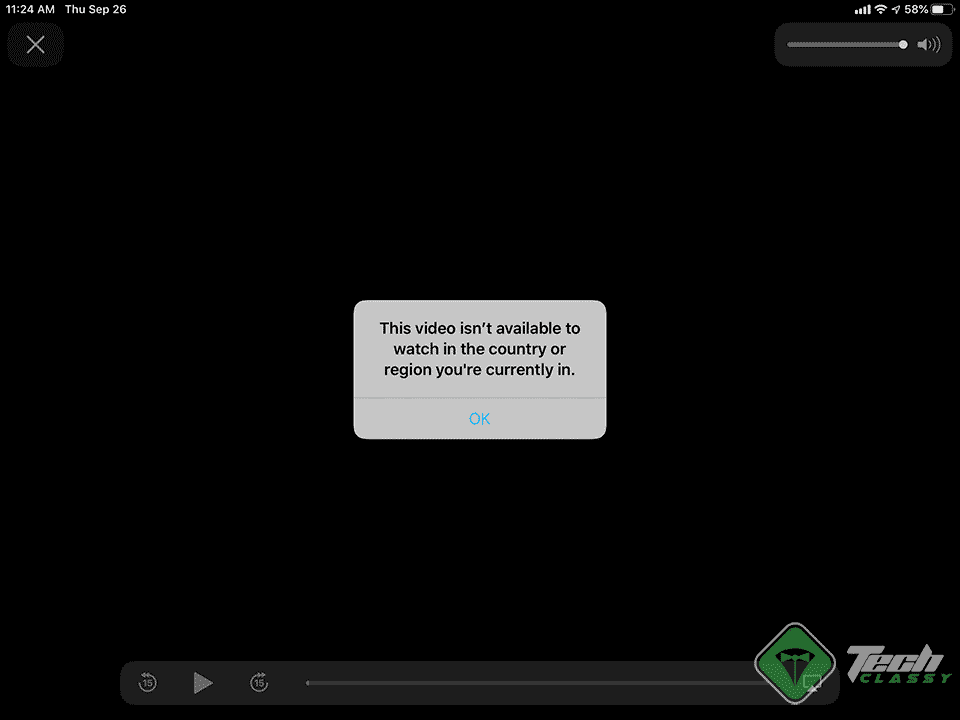 Apple TV app: This video isn't currently available to watch in the country or region you are currently in.