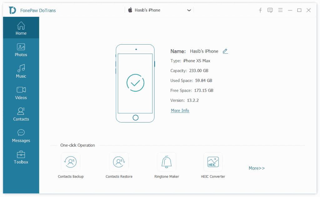 FonePaw DoTrans iPhone Manager - Home Screenshot