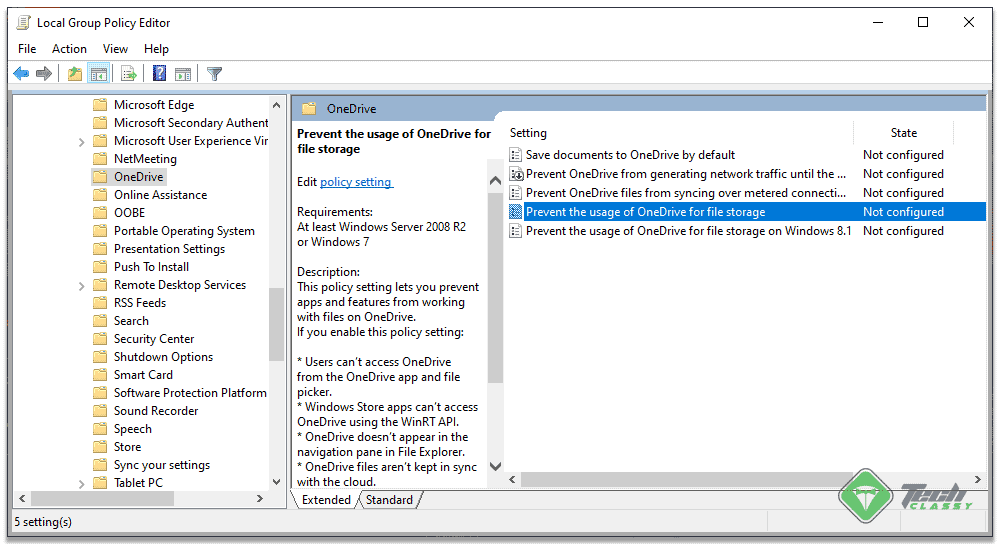 Disabling OneDrive from Group Policy Editor 1