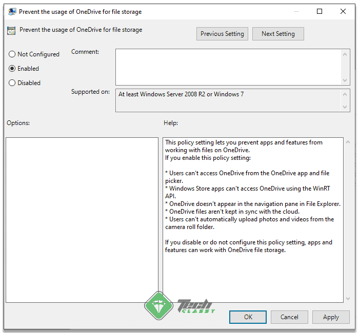 Disabling OneDrive from Group Policy Editor 2