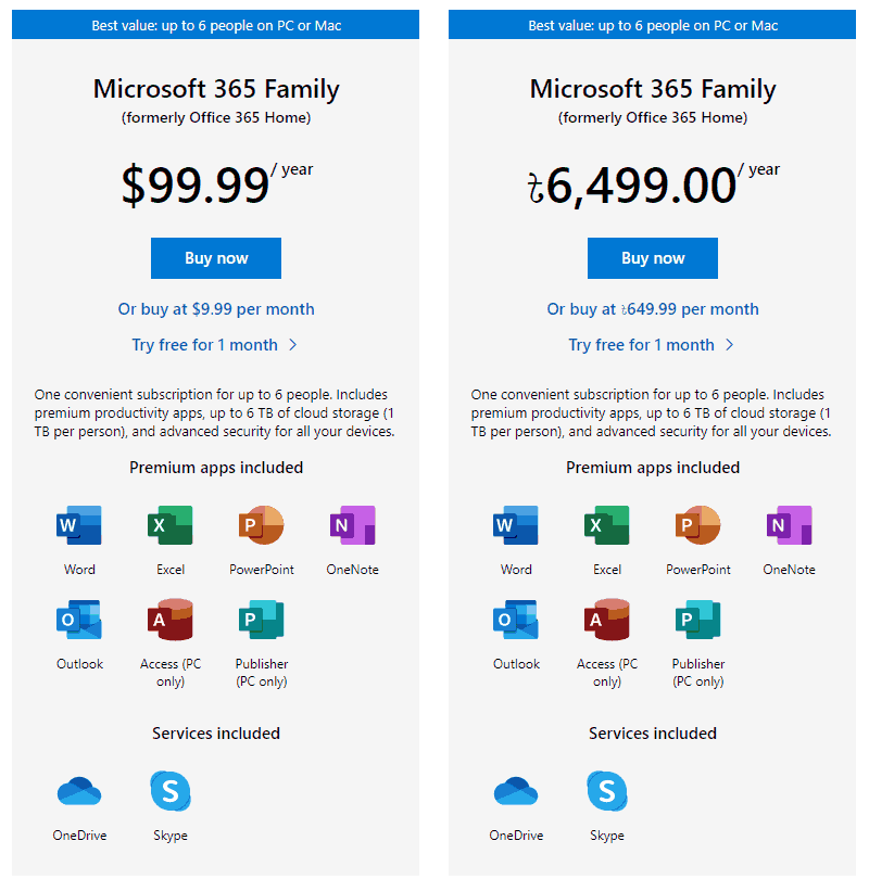 Microsoft 365 Home Different Pricing in Two Different Regions