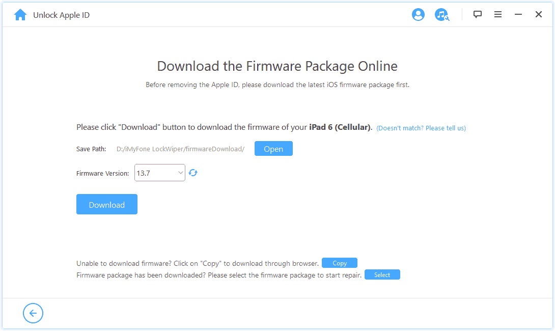 Firmware Version select: iMyFone LockWiper