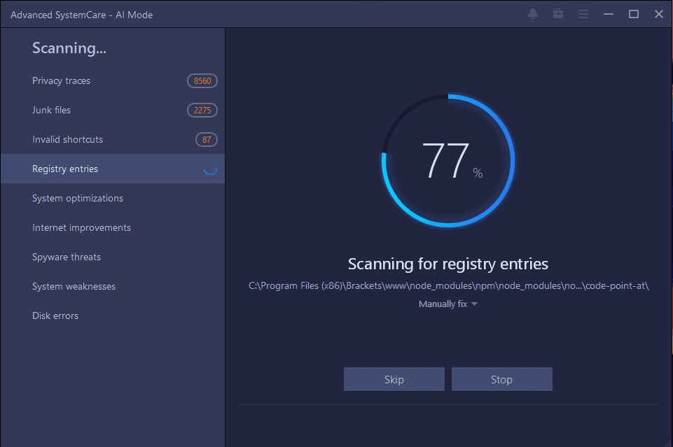 Advanced SystemCare Pro Scanning Screenshot