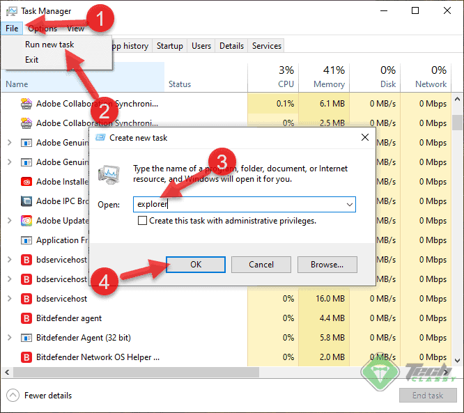 Launching Windows Explorer From Task Manager