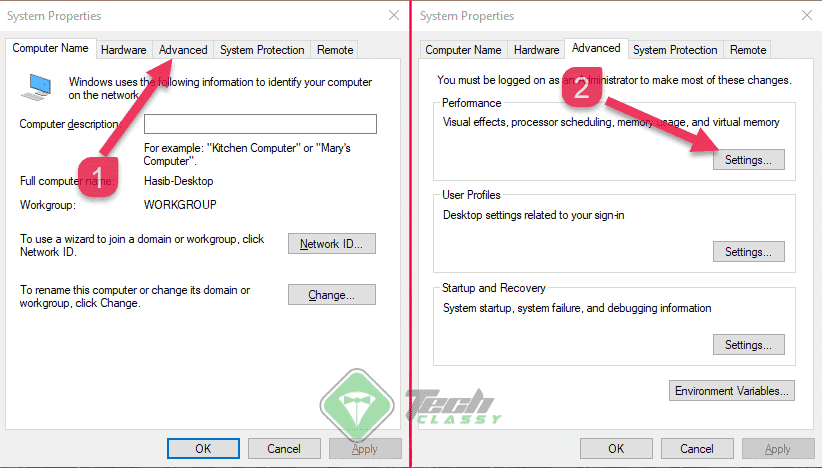 Opening Performance Settings From System Properties In Windows