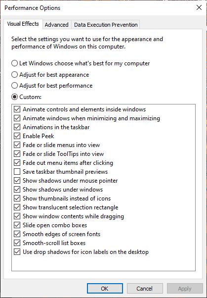 Tweak Visual Effects Performance Settings Windows