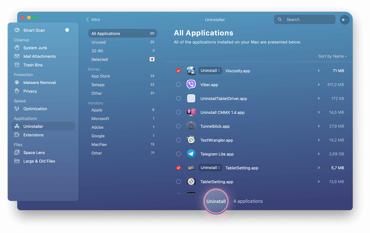 cleanmymac x uninstaller apps selected