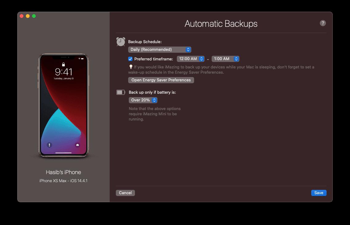 imazing automatic backup configure