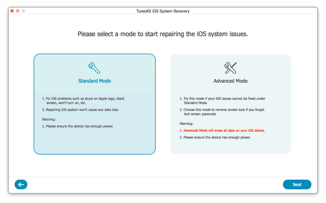 tuneskit ios system recovery scr3