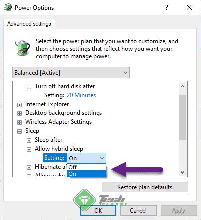 enable disable hybrid sleep windows