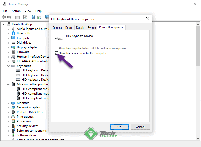 keyboard device power management device manager win10